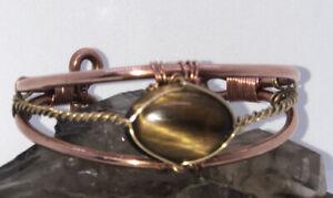 Tigers Eye Wirewrapped Bracelet On Pure Copper