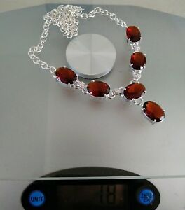 """NATURAL FACETED OVAL BROWN SMOKY TOPAZ 925 STERLING SILVER NECKLACE 20"""" HANDMADE"""