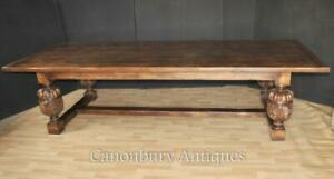 French Refectory Table Kitchen Dining - XL 10 ft Oak Rustic