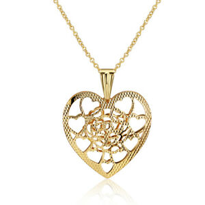 """GOLD PLATED HEART SHAPED PENDANT AND CHAIN - 16/18"""" - 1012.06"""