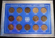 GEORGE V 1911-1923 SET OF 14 FARTHINGS CLEAR DATES IN DISPLAY CASE IDEAL GIFT