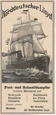 Reederei Norddeutscher Lloyd Postdampfer Schnelldampfer REKLAME Werbung von 1888