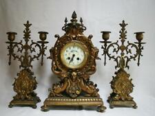 Beautiful French Bronze Clock Set Garniture Art Nouveau