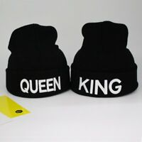 2PCS KING and QUEEN Snapback Fashion Embroided Beanie Knitted Hip-Hop Hats