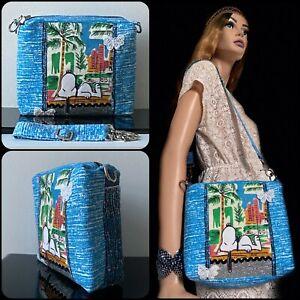 VTG 50s 60s 70s Fabrics Snoopy Peanuts Rio Handmade Crossbody Shoulder Box Bag