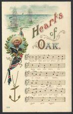 Hearts of Oak vintage song notes postcard