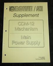 Rowe Ami supplement Cdm-12 Mechanism main power supply first ed 1995