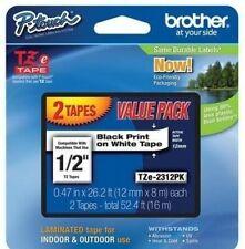 Brother TZE2312PK 12mm Black on White Tape - 2 Pack