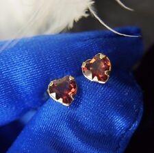 Vintage 14k Yellow Gold 5mm Rhodolite Garnet Heart Estate Dainty Post Earrings