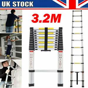 3.2M Multi-Purpose Aluminium Telescopic Ladder Extension Extendable 11 Steps UK