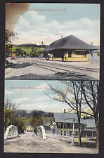 Proctorsville-Vermont-Railroad Train Station-Depot St Bridge-Antique Postcard