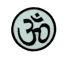 Patch iron on Ohm white hindu applique backpack om peace and love hippy aum tao