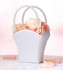 Plain Satin Flower Basket White