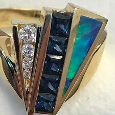 Womens 18K Gold Diamond Sapphire Opal Bagley & Hotchkiss Ring, Style RG19392L