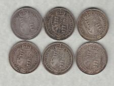 More details for six 1887 victoria jubilee head silver shillings in good fine condition