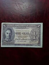 Malaya 1941 un centavo nota, AVF