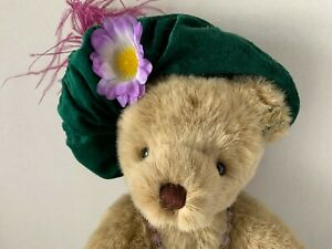 """Annette Funicello Bear Andrea Soft Brown Jointed 14"""" Feathered Renaissance Hat"""