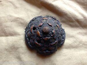 Original Vintage/Period/Old British Police Helmet Blackened Helmet Rose/Top