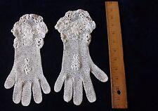 Handmade Vintage Irish Crochet Lace Gloves c1940~Women's Clothing,Bridal