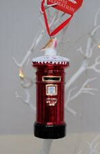 Christmas tree decoration ornament Red GLASS POST BOX Letter Royal mail ROBIN