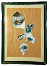 Vintage Seymour Zayon Surreal Mixed Media Collage Woman's Eyes Signed