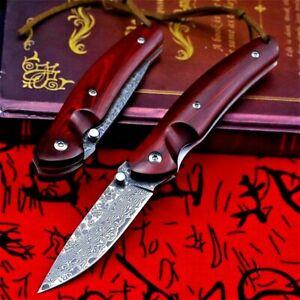 Drop Point Folding Knife Pocket EDC Hunting Survival Damascus Steel Wood Handle