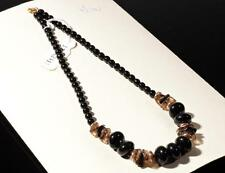 """17"""" necklace black faux pearl rondelle smoky nugget Czech vintage glass beads"""