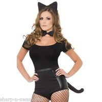 Ladies Halloween Deluxe Black Cat Animal Hen Fancy Dress Costume Kit Accessory