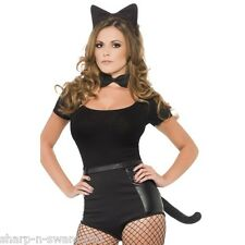 Ladies Halloween Deluxe Black Cat Animal Hen Fancy Dress Costume Kit Accessory