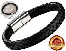 Genuine Leather Bracelet Mens Wristband Hand Rope Clasp Black Stainless Steel