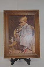 "Vintage Dicksons Wood Framed Print Little Girl Milk and Cookies 8x6"""