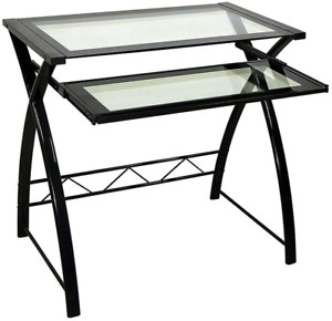 Twin Star Home Glass Computer Desk for Small Spaces, Office Desk with Pull Out K