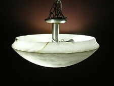 "LED ALABASTER ART DECO REAL MARBLEB 20"" WIDE SEMI FLASH MOUNT MADE SPAIN"