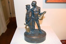 """Crew Watching"" Bronze Sculpture by Larry Braun - Racing History!! Automobilia"