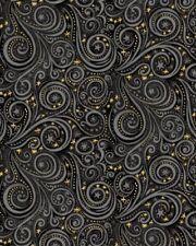 Galaxy Metallic Fabric - Gray & Black Blender Swirl - Blank Quilting YARD