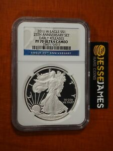 2011 W PROOF SILVER EAGLE NGC PF70 ULTRA CAMEO FROM 25TH ANN SET EARLY RELEASES