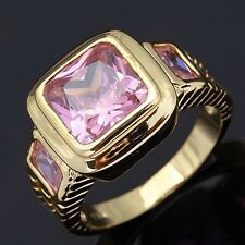 Fashion Princess Cut Size 11 Pink Topaz 18K Gold Filled Mens Engagement Rings