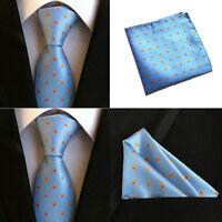 Men Orange Blue Dots Ties Pocket Square Handkerchief Hanky Set Lot HZBWT0073