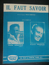 Partition alt partitur sheet music = Charles Aznavour - Il faut savoir