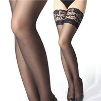 Sexy Women Sheer Lace Top Stay Up Stockings Thigh High Pantyhose Hold-up Tights