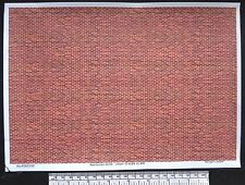O gauge (1:48 scale) red/brown brick paper - A4 sheet (210 x 297 mm)