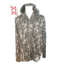US Army Strong Mens Hoodie Sweatshirt Size Large Full Zip Gray Geometric Pockets