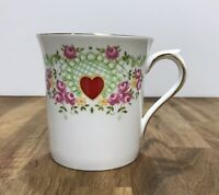 Beautiful Rosina Co Queen's Fine Bone China Cup Mug Hearts and Flowers ENGLAND