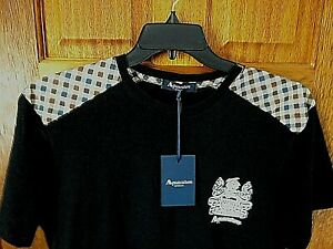 New AQUASCUTUM Black Short Sleeve T Shirt With HOUSECHECK Trim Size XL RARE !