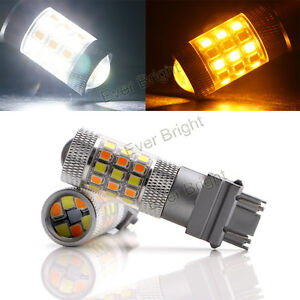 2Pcs 12V 3157 2835 42SMD Dual Color Switchback Led White Amber Turn Signal Light