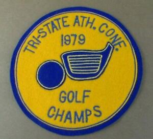 """Vintage Tri-State Athletic Conference Patch Golf Champs 1979 Round 6.5"""" Felt"""