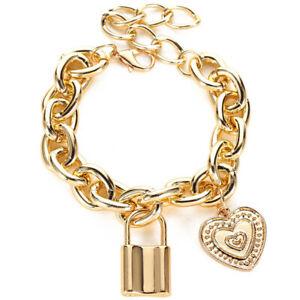 Lock Heart Charms Bracelet Chain Bracelets Gold Bangle for Women Jewellery