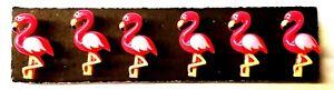 PINK FLAMINGO Push Pins - Set of 6 Handmade Decorative Thumb Tacks