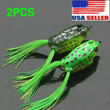 2Pcs Large Frog Topwater Soft Fishing Lure Crankbait Hooks Bass Bait Tackle hook