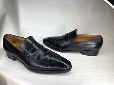 JM J.M. WESTON 7 E WIDE SIGNATURE PENNY LOAFER WINGTIP BLACK LEATHER CASUAL LUX